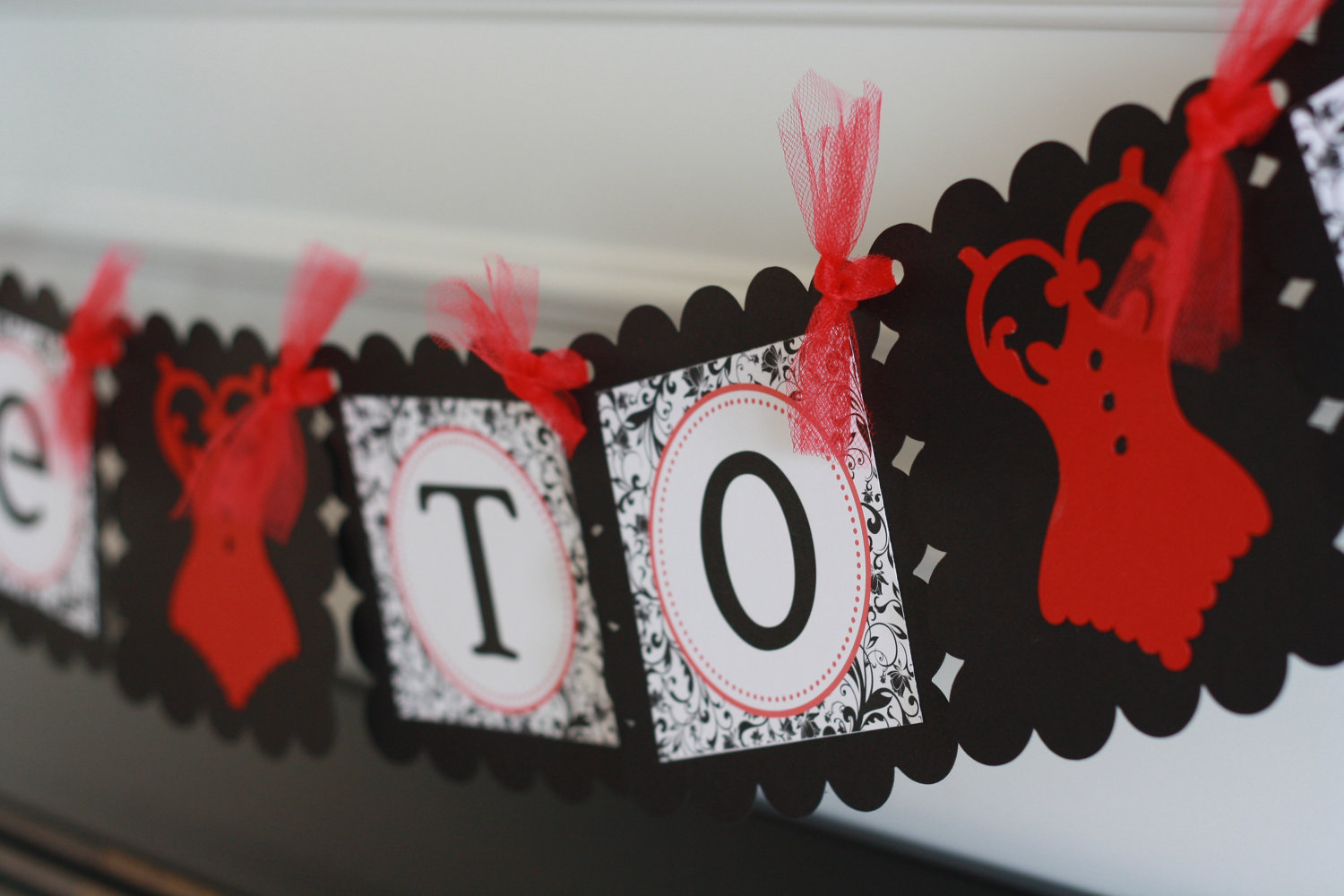 Red Black And White Bridal Shower Decorations  from snobbride.com